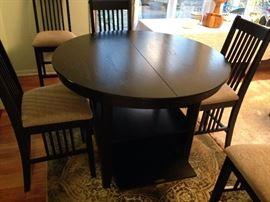 Black Round Under Storage Pub Table w/ Two Leaves - Detail