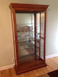 Lighted Curio Cabinet w/ Sliding Front Glass Door & Glass Shelves