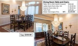Rug Sold Correction Dining Table and Chairs $1,000 Captain Chairs $50 EA