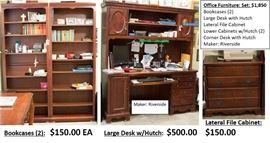 Bookcase $100 ea Large Desk $350 Lateral $100. Side $150 Corner $150