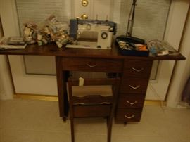White Sewing Machine & Cabinet