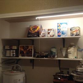 Kitchen appliances, fondu pots, ice cream maker, snow cone machine, dishes set, serving bowl crockpot.