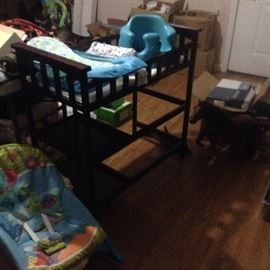 Matching crib and changing table, large toy horse, Buddha baby chair