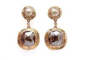 Matthew Trent 18K Yellow Gold 6.00 Carat Rose Cut Natural Diamond Earrings