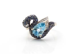 14K Yellow Gold Gemstone and Diamond Swan Ring