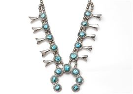 E H Sterling Silver Turquoise Squash Blossom Necklace