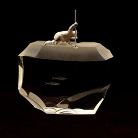 "James Houston 1970 Steuben ""Arctic Fisherman"" Art Glass"