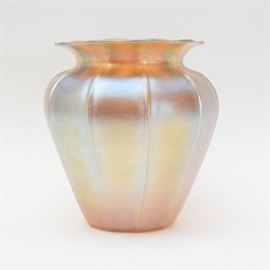 Iridescent Glass Baluster Vase In The Style of Steuben