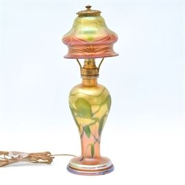 Signed Tiffany Favrile Glass Table Lamp
