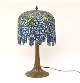 Art Nouveau Bronze Lamp With Tiffany Style Stained Glass Shade