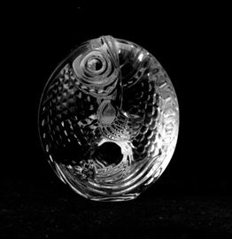 A Steuben glass fish figurine. Features a continuous fish circle design and the piece is signed to the bottom and includes original presentation box.