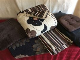 Lot # 6 - Queen comforter , bed skirt, rug, brown throw blanket, brown cushion, king pillow - $ 40.00