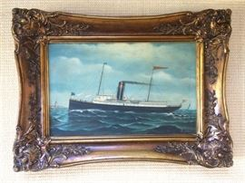 oil painting - steam ship