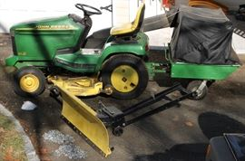 John Deere 345 Riding lawn tractor/mower with snow plow & accessories