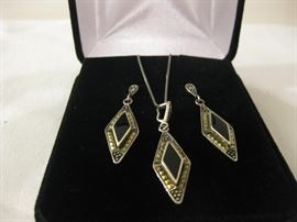 Sterling Silver and Black Onyx Necklace Earings