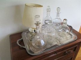 decanturs, mercury glass lamp, walnut server
