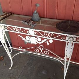 antique glass topped iron table as is