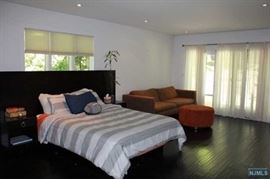 MICHAEL WEISS FOR VANGUARD FURNITURE QUEEN SIZE BED WITH ATTACHED NIGHTSTANDS, SOFA AND OTTOMAN HAVE BEEN SOLD