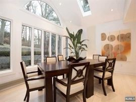 CUSTOM CONTEMPORARY DINING TABLE, ACTUALLY TWO TABLES WITH LEAVES, CAN EXTEND UP TO 16', CHAIRS HAVE BEEN SOLD