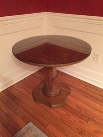 "Signed Henredon Walnut table - 28"" with custom cut glass topper"