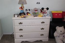 Solid wood white 3 drawer dresser. Disney collectibles