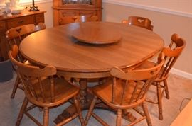 "Mid-Century Early American ""Tell City"" Indiana Furniture made of Solid Hard Rock Maple in Beautiful Condition!  Pictured is Dining Table with Extension plus 2 Captains Chairs, 4 Mates Chairs and an Hard Rock Maple Lazy Susan."
