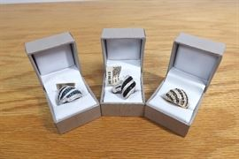 3 NEW High End Crystal Stone Cocktail Rings