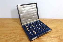 36 High End Vintage Costume, CZ, and Rhinestone Rings in Antique Ring Box