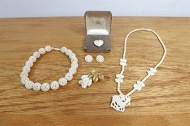Lot of High End Vintage Carved Ivory/Bone Jewelry