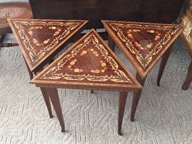 Set of three Italian inlaid nesting tables.  Excellent condition.
