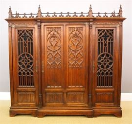 French Oak Gothic Revival bookcase