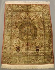 Very Fine Antique Silk Persian Isfahan Carpet