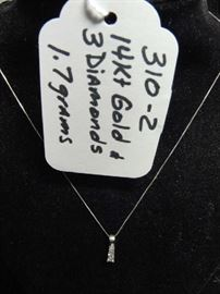 14kt Gold and 3 Diamond Necklace