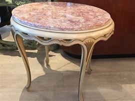 Pair of Belgian marble side tables