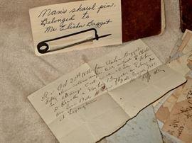 Vintage artifacts from Aiken SC  (Isn't that shawl pin of Mr. Elisha Baggot's interesting?)