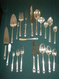 "1847 Roger Bros ""Eternally Yours"" Silverplate Flatware (24 Place Settings and 2 Sets of Serving Pieces)"
