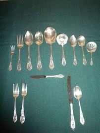 "Wallace Sterling ""Rose Point"" Flatware Set (8 Place Settings plus Serving Pieces)"
