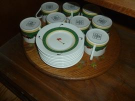 Optima set of china for 8.  Includes serving pieces and matching placemats and napkins.
