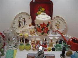 Vintage salt & peppers and kitchenware