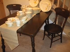 Antique wood table and chairs, Taylor Smith dinner service for 12