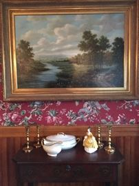 "Late 19th Century Oil Painting Depicting a Stream Running Through a Landscape. Signed Jean Wilton. Royal Doulton ""Coralie"". Johnson Bros Serving Pieces."