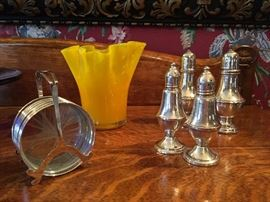 Sterling Salt and Pepper Shakers, Sterling Coaster Set