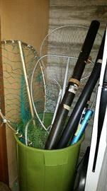 Fishing nets and pole holders
