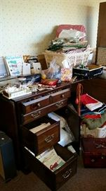 Sewing items, vintage patterns