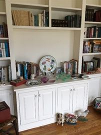Books, newer cast iron doorstops, vintage and newer glassware, pottery, etc.