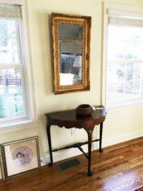 """Early gilt mirror with penciled note from """"Paul Bronson"""" saying it was given to him by """"Roger Sherman.""""  Likely Paul Bronson from Middlebury and possibly Roger Sherman from Woodbury.   And nice demi-lune table."""
