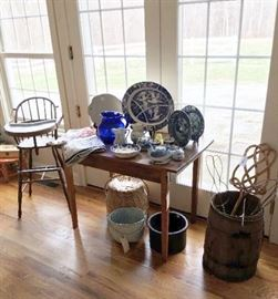 Antique and vintage country items, blue and white china, etc.
