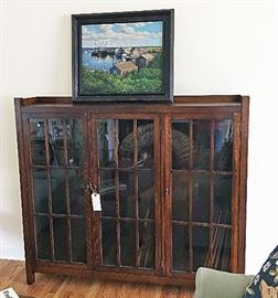 Mission bookcase that's waaay better than it looks here.   The painting is a 2002 oil on canvas of Menemsha in Martha's Vineyard.