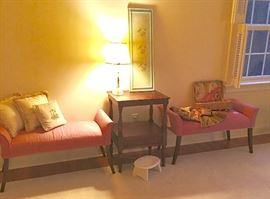 Matching pair of end-of-bed stands.  Vintage bed or side table with drawer.  Glass poured leaves lamp , etc.