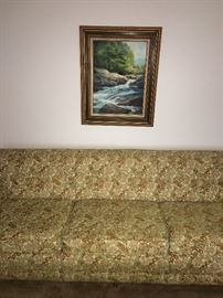 vintage couch, oil painting